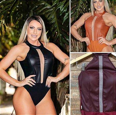 Body Feminino decote ilusion, frente couro fake, com bojo, vendas no atacado