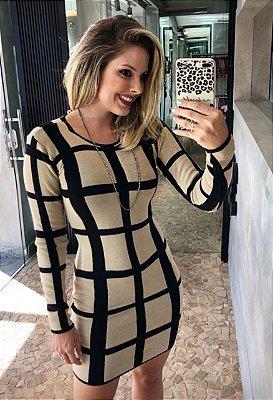 Vestido Tricot Estampa Xadrez, Coleção Outono Inverno 2019