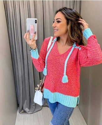 Blusa Tricot bicolor, Moda Atacado Tricot 2019