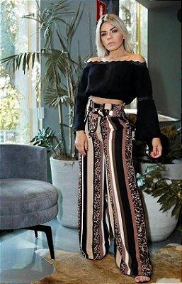 Blusa Ciganinha  com manga longa flare Style