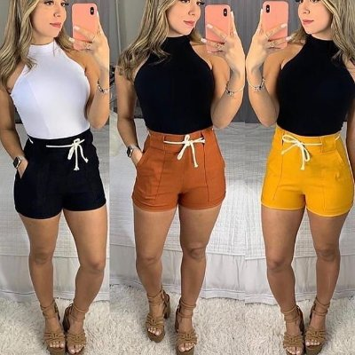Shorts Em Bengaline Cós Alto, Vendas No Atacado