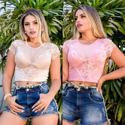 Top Cropped renda com manguinha.