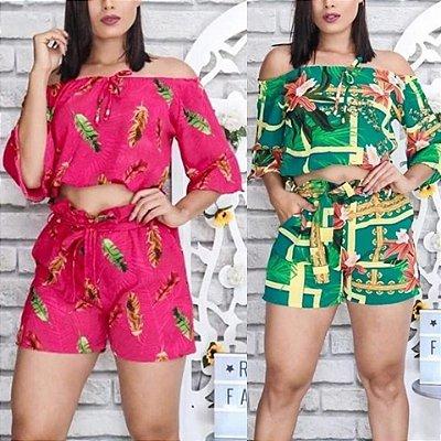 Look com Conjunto Blusa curta Modelo Ciganinha com Shorts cinto, Venda Pelo Site