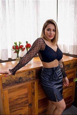 Saia Couro fake, frente 2 zíperes fenda, com cinto, Moda Feminina Online