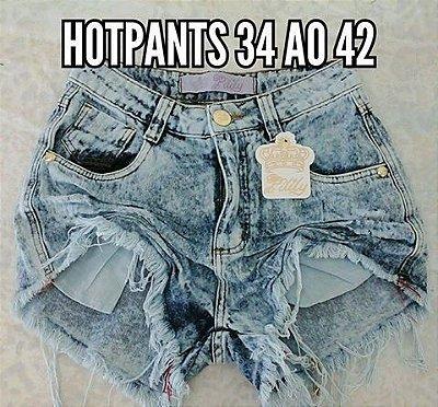 Shorts curto Hot Pants cós alto, Moda jovem, atual. Destroyed zíper. Cor azul Jeans.