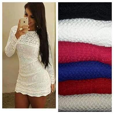 Vestido tricot  em alta, modelo Tricot Básico
