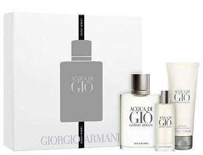 Kit Acqua Di Giò Homme Eau de Toilette Giorgio Armani - Perfume + Gel de Banho + Miniatura