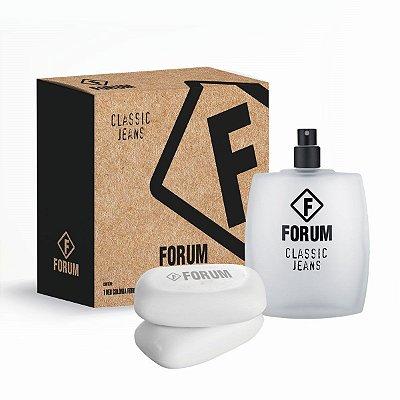 Kit Forum Classic Jeans Eau de Toilette Forum - Perfume Unissex 100 ml + 2 Sabonetes Classic Jeans