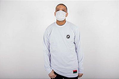 Camiseta Branca Manga Longa Brazão N.Q.S.A