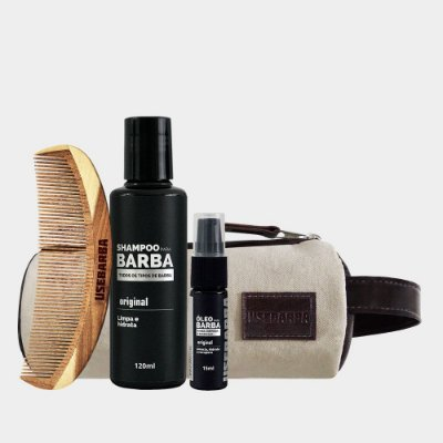 Kit Shampoo + Óleo + Pente U + Nécessaire Lona Usebarba