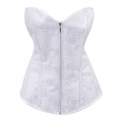 Corselet Overbust Branco Jacquard