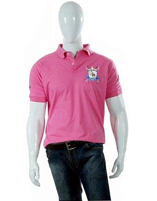 Camisa Polo Style Masculina Básica Rosa - Brasão