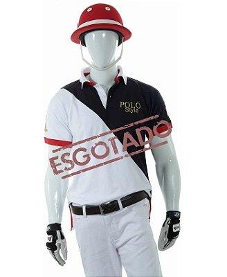Camisa Polo Style Masculina Corte Diagonal - Branco/Azul 06-1
