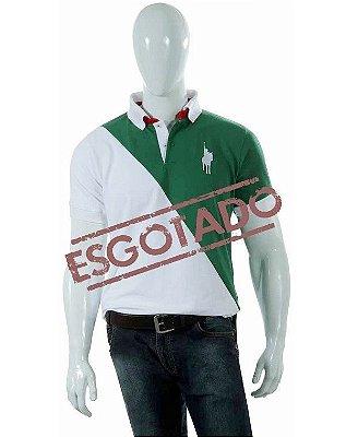 Camisa Polo Style modelo Diagonal - Branco/Verde 04