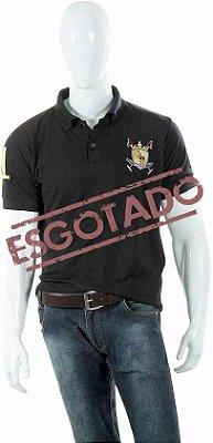 Camisa Polo Style modelo Básica Preta Brasão