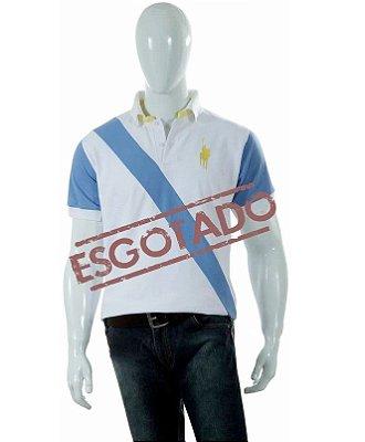 Camisa Polo Style modelo Faixa Branco/Azul 03