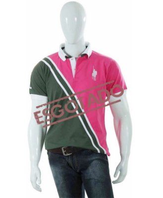 Camisa Polo Style modelo Bi-Faixa Verde/Rosa