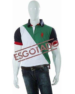 Camisa Polo Style Corte Diagonal - Branco/VerdeAZ 01