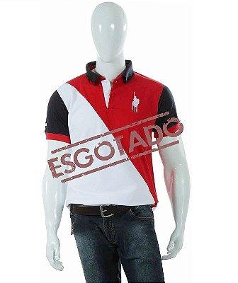 Camisa Polo Style Corte Diagonal - Branco/Vermelho