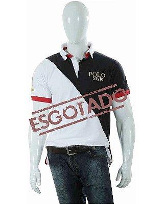 Camisa Polo Style Corte Diagonal - Branco/Azul 06