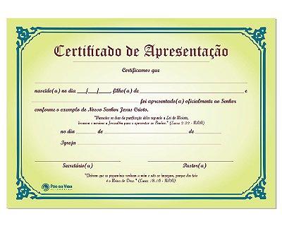 CERTIFICADO DE APRESENTAÇÃO DE CRIANÇAS - 5 UNIDADES
