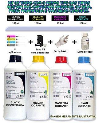 Kit Tinta S-Colors Recarga Cartucho Canon MG2410, MG2910, MG3510, MG3610, E481,
