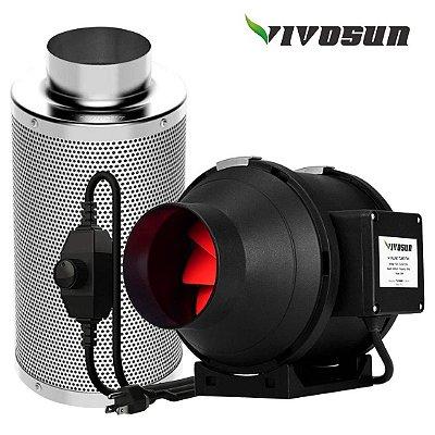 """Combo Exaustor Inline 110V e Filtro de Carvão VIVOSUN ADVANCED opção 4"""" 100mm, 5"""" 125mm, 6"""" 150mm e 8"""" 200mm"""