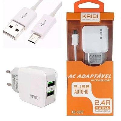 Carregador de Celular Fonte USB 2.4A Kaidi KD-301s