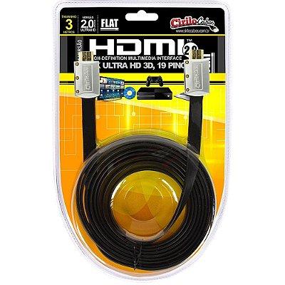 Cabo HDMI 2.0 FLAT Desmontável, 19 Pinos, 4K, Ultra HD, 3D - 3 metros