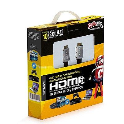 Cabo HDMI 2.0 FLAT Desmontável, 19 Pinos, 4K, Ultra HD, 3D - 10 metros