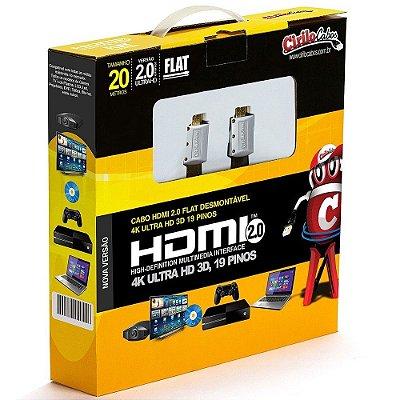 Cabo HDMI 2.0 FLAT Desmontável, 19 Pinos, 4K, Ultra HD, 3D - 20 metros