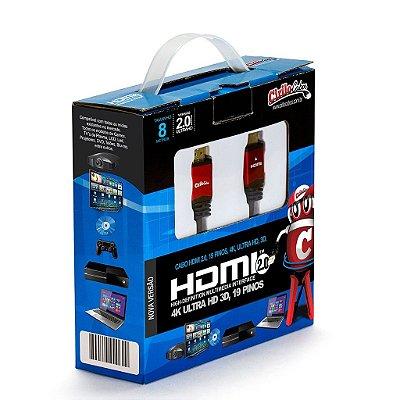 Cabo HDMI Versão 2.0, 19 Pinos, 4K, Ultra HD, 3D - 8 metros