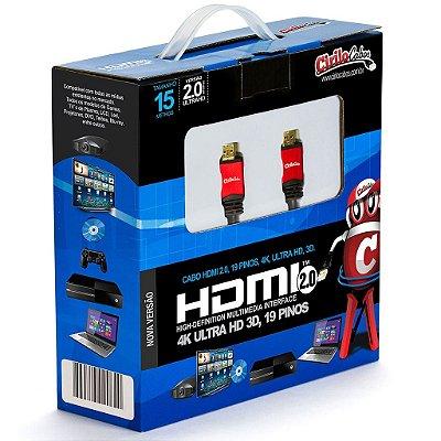 Cabo HDMI Versão 2.0, 19 Pinos, 4K, Ultra HD, 3D - 15 metros