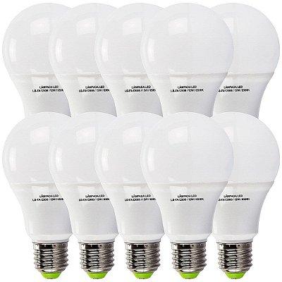 10 Lâmpadas 12W LED Bulbo E27, 6500K, Bivolt - Branco Frio