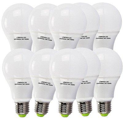 10 Lâmpadas 9W LED Bulbo E27, 6500K, Bivolt - Branco Frio