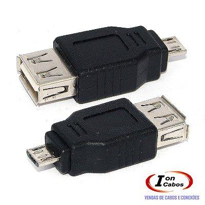 Adaptador Micro USB Macho para USB Fêmea