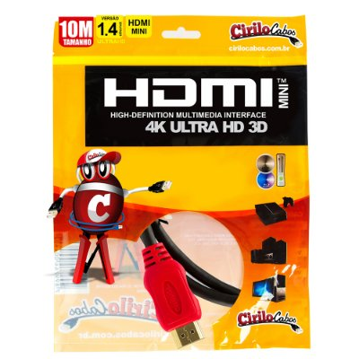 Cabo MINI HDMI para HDMI 1.4 Ultra HD 3D, 10 metros