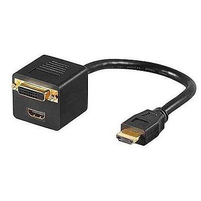 Adaptador HDMI Macho para Fêmea com DVI-I Fêmea em Y