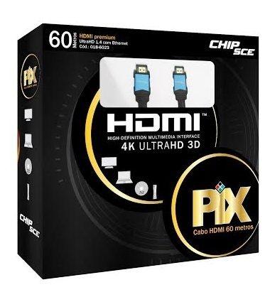 Cabo HDMI 1.4 Ultra HD, Qualidade 3D com Chip Set - 60 metros
