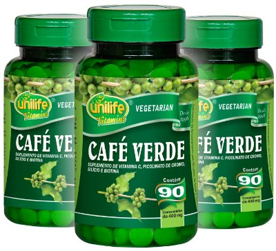Kit com 3 Cafe Verde Unilife 270 Cápsulas 400mg