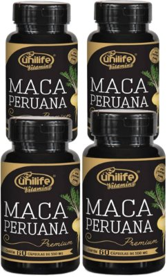Kit Maca Peruana (240caps) 100% Natural e Pura - 4 potes- Unilife