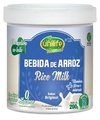 Leite em Po de Arroz - Rice Milk Natural - 200g Unilife