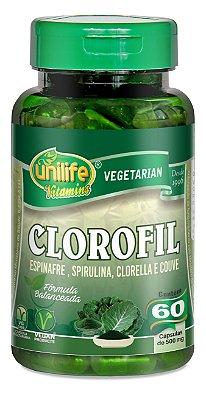 Clorofil (Espinafre, Spirulina, Clorella e Couve) 60 Cápsulas 500mg Unilife