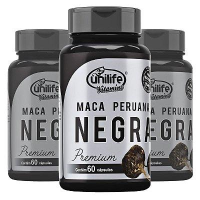Kit 3 Potes Maca Negra em cápsulas - 180 caps  - Unilife