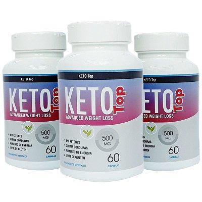 Kit com 3 - Emagrecedor Keto - Linha TOP - 500mg - 180 Caps