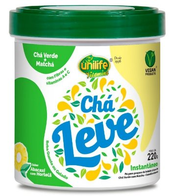Chá Leve Chá Verde + Matcha (220g) - Sabor Abacaxi com Hortelã - Unilife
