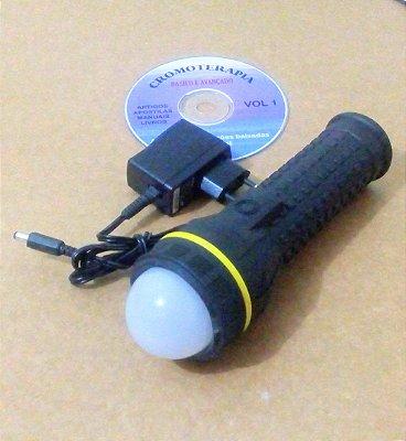 Lanterna de cromoterapia e massagem facial com 10 cores fixas e duas pulsada