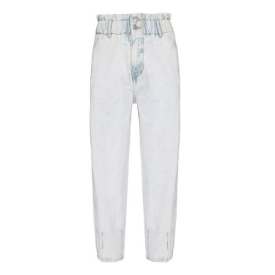 Calça Cós Elástico Jeans Claro