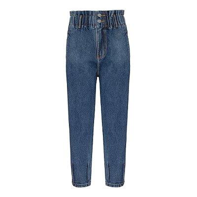 Calça Cós Elástico Jeans Escuro