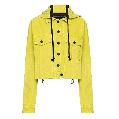 Jaqueta Contrastante Capuz Lime